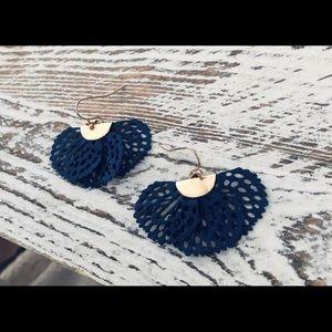 Handmade Navy Blue Bohemian Fan Gold Earrings NWT